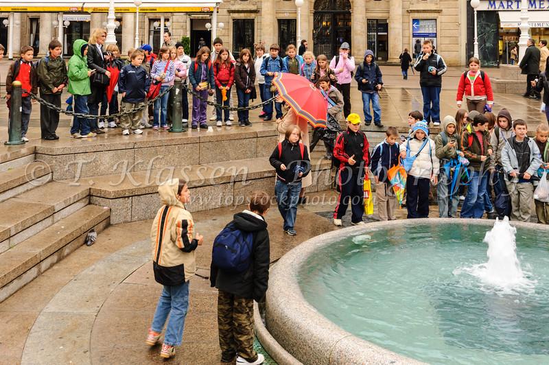 The Mandusevac Fountain on the Ban Jelacic Square in Zagreb, Croatia.