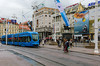 Train transportation on Ban Jelacic Square in Zagreb, Croatia.