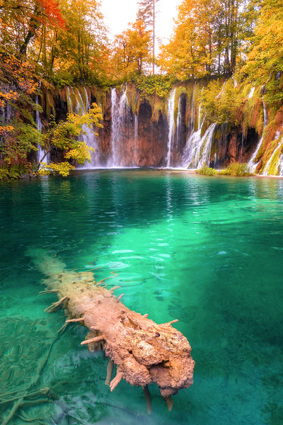 Waterfall at sunrise in the plitvice national park in croatia