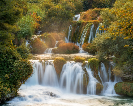 Skradinski Buk waterfall in Krka at sunrise
