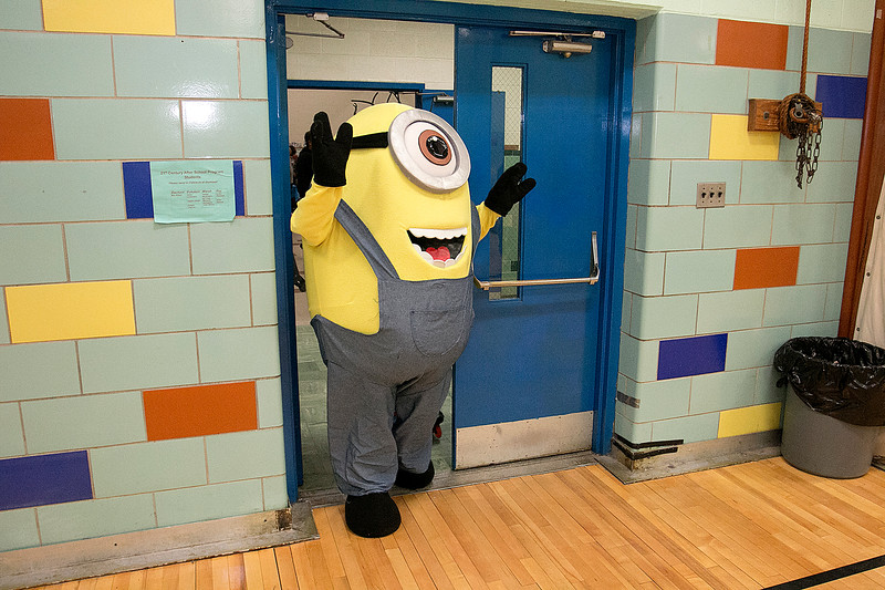 """Crocker Elementary School hosted its first annual """"Fuel Up to Play 60"""" Health Fair on Thursday night at the school. One of the Universal Pictures Minions was on had at the event to help entertain the students. SENTINEL & ENTERPRISE /JOHN LOVE"""