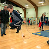 "Crocker Elementary School hosted its first annual ""Fuel Up to Play 60"" Health Fair on Thursday night at the school. Kindergartener Morgan Radewitz, 6, tries to use the jump rope at one of the stations in the gym at the event. SENTINEL & ENTERPRISE /JOHN LOVE"