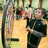 "Crocker Elementary School hosted its first annual ""Fuel Up to Play 60"" Health Fair on Thursday night at the school. Fourth grader Jack Kirrane, 9, spins the whell at the Roll on America booth at the event to try and win a prize. SENTINEL & ENTERPRISE /JOHN LOVE"
