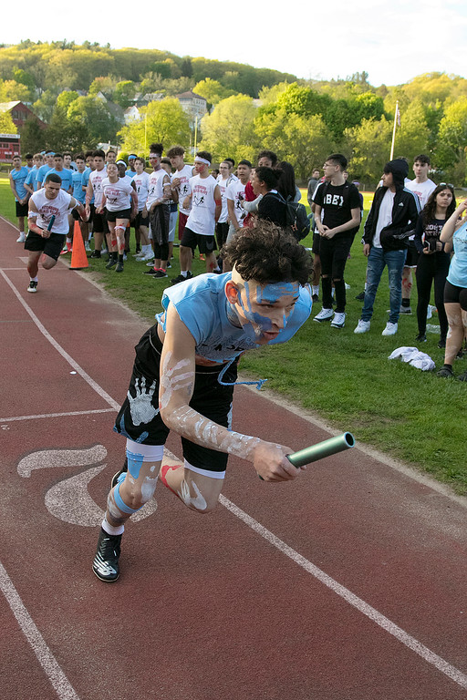 . The 105th running of the Fitchburg Schools Relays were held at Crocker Field Thursday, May 16, 2019. Athletes from Fitchburg Public Schools run against one another (school vs. school, class vs. class). Sophomore Daniel Edmonds takes off to start the freshmen vs sophomore race. SENTINEL & ENTERPRISE/JOHN LOVE
