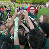The 105th running of the Fitchburg Schools Relays were held at Crocker Field Thursday, May 16, 2019. Athletes from Fitchburg Public Schools run against one another (school vs. school, class vs. class). Sixth graders from Memorial Middle School celebrate their victory. SENTINEL & ENTERPRISE/JOHN LOVE