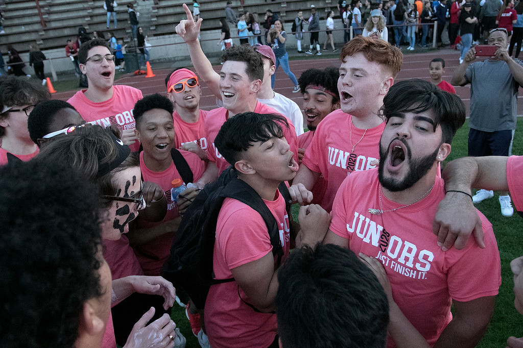 . The 105th running of the Fitchburg Schools Relays were held at Crocker Field Thursday, May 16, 2019. Athletes from Fitchburg Public Schools run against one another (school vs. school, class vs. class). Juniors celebrate their win. SENTINEL & ENTERPRISE/JOHN LOVE