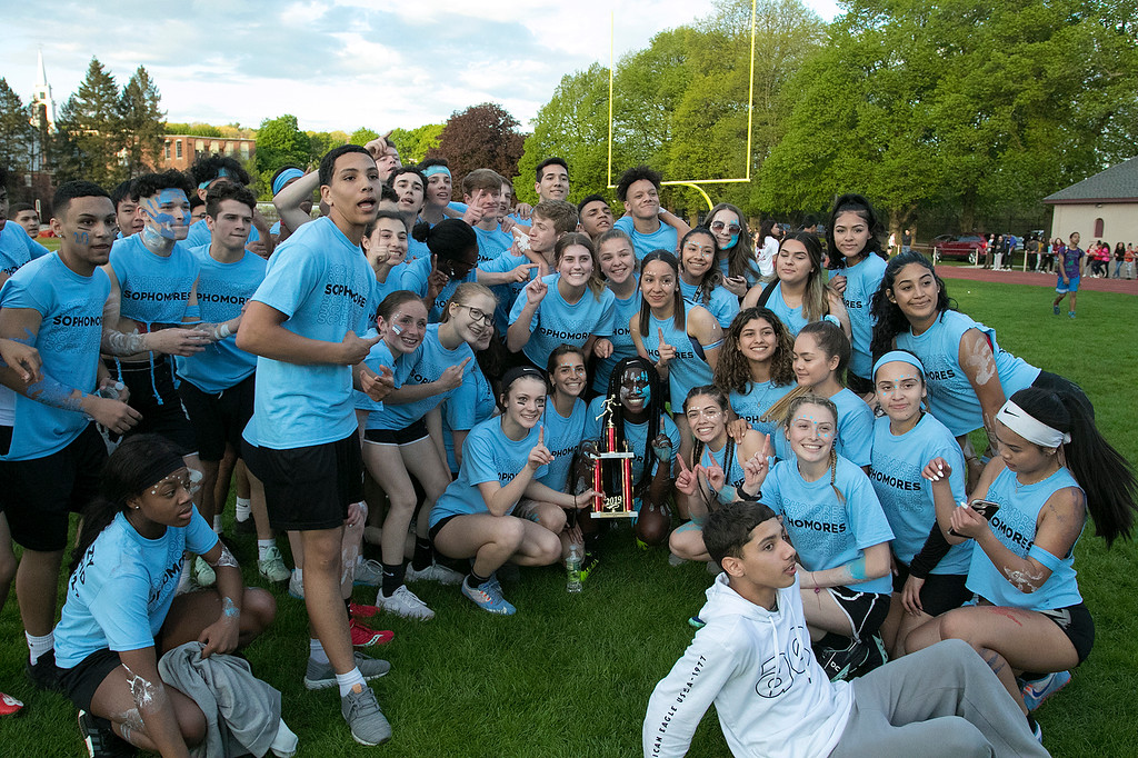. The 105th running of the Fitchburg Schools Relays were held at Crocker Field Thursday, May 16, 2019. Athletes from Fitchburg Public Schools run against one another (school vs. school, class vs. class). The sophomore class celebrate their victory over the freshmen class. SENTINEL & ENTERPRISE/JOHN LOVE