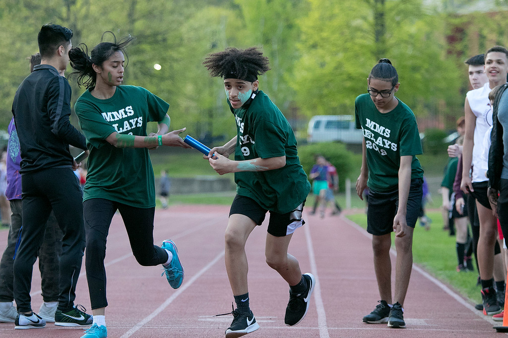 . The 105th running of the Fitchburg Schools Relays were held at Crocker Field Thursday, May 16, 2019. Athletes from Fitchburg Public Schools run against one another (school vs. school, class vs. class). SENTINEL & ENTERPRISE/JOHN LOVE