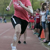 The 105th running of the Fitchburg Schools Relays were held at Crocker Field Thursday, May 16, 2019. Athletes from Fitchburg Public Schools run against one another (school vs. school, class vs. class). Junior Madyson Jarrett takes off to start the Junior vs senior race. SENTINEL & ENTERPRISE/JOHN LOVE