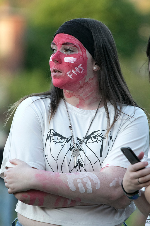 . The 105th running of the Fitchburg Schools Relays were held at Crocker Field Thursday, May 16, 2019. Athletes from Fitchburg Public Schools run against one another (school vs. school, class vs. class). Freshman Kendra Grant watches the races. SENTINEL & ENTERPRISE/JOHN LOVE