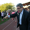 The 105th running of the Fitchburg Schools Relays were held at Crocker Field Thursday, May 16, 2019. Athletes from Fitchburg Public Schools run against one another (school vs. school, class vs. class). Fitchburg Mayor Stephen DiNatale blows the whistle to start the junior vs senior race. SENTINEL & ENTERPRISE/JOHN LOVE