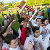 The 105th running of the Fitchburg Schools Relays were held at Crocker Field Thursday, May 16, 2019. Athletes from Fitchburg Public Schools run against one another (school vs. school, class vs. class). Longsjo students celebrate their victory. SENTINEL & ENTERPRISE/JOHN LOVE