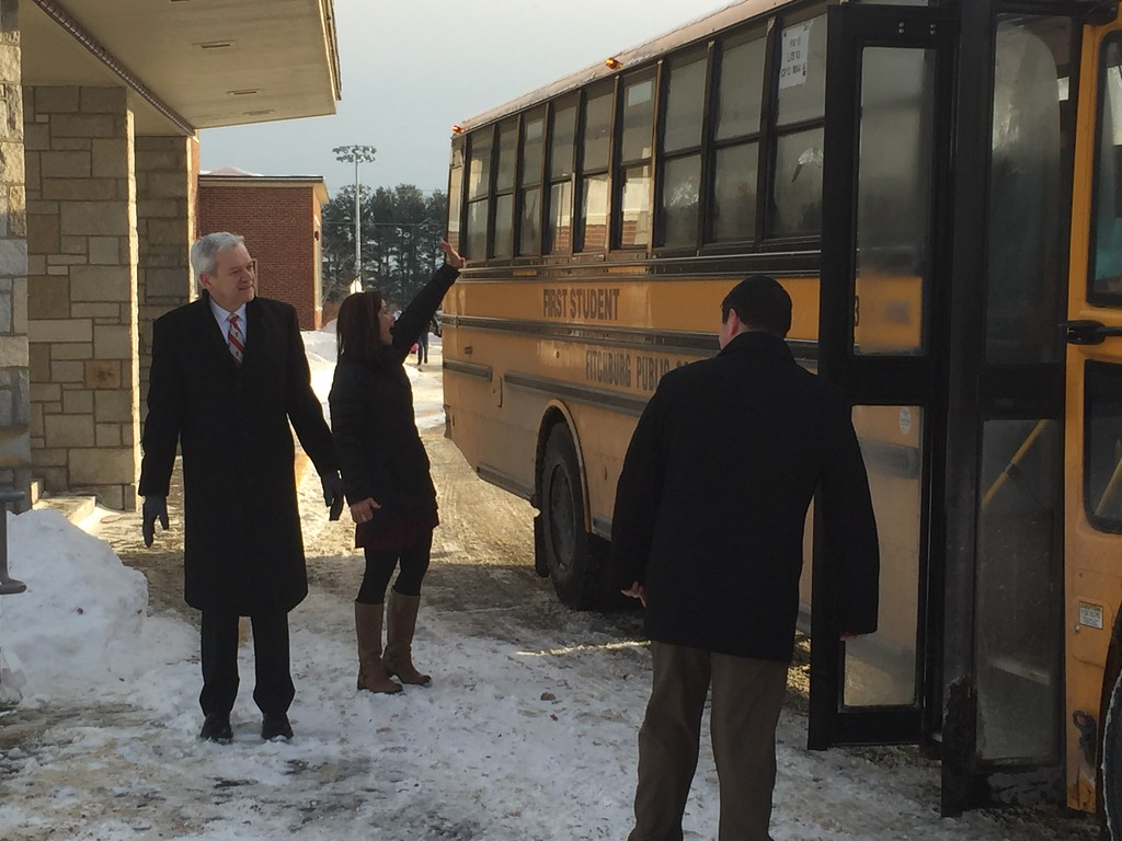 . Fitchburg Supt. Andre Ravenelle greets the buses. Students from Crocker Elementary School in Fitchburg started school Monday, 1/9/18, at the former TC Passios School in Lunenburg. 650 students from Crocker had to find temporary housing after winter break when a broken steam pipe damaged several classrooms and ceiling tiles containing asbestos. CONTRIBUTED PHOTO/CHAD GARDNER, FITCHBURG PUBLIC SCHOOLS