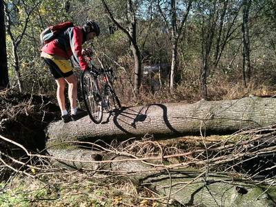 Guy practicing cyclocross - he says he is not going to take it up.