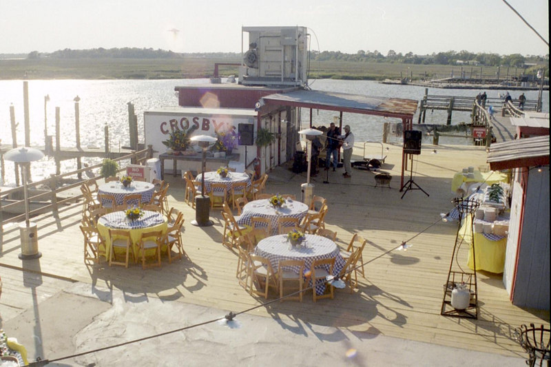 Crosby's Dock can accomodate up to 100 guests seated. This photo shows seating for 50.