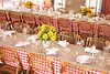 Guests dined family style, using long tables covered in gingham cloths and butcher paper.
