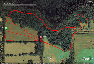 5Km GPS track. Try the player. Ride the little NE loop the first lap, skip it the second. Use with Coach Harvey's map to make the most sense. (Rotate her map 90 degrees clockwise.)