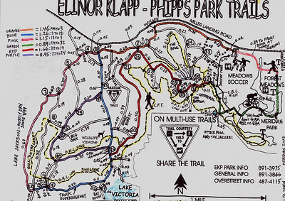 "An old map I last modified in 2001. Still useful to figure all the ""segments"" of doubletrack in Phipps Park.   Lots of folks just do all their running across the street (east of Meridian) on the Overstreet trails, 'cause they're afraid of getting lost over here."