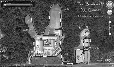 "Print out this map and bring copies for your team. For full resolution, don't just right-click and save. Hover mouse pointer over the photo, click on ""Save Photo."" That will give you the largest file size, ~270KB. Or just click this link. That's full res. We loop around the park a bit at the end to give the spectators more viewing options. Fun for the kids as well to have a wall of noise as they are finishing their race. Seemed to work fine at the 2010 event. For this 2M event, I radio 1/4M splits from the lead bike back to the finish area."