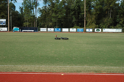 Side view of the START line, looking north. The mark in lane one is for the 8th flight of hurdles, Girls' 100mHH. Got it?