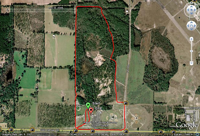 NOTE: I do not know if this is an accurate portrayal of the 2008+ course!! It depicts a revision after the ~2M point. I threw this together 22 Oct09 for a Google Earth look at the course. I'm scheduled via Marianna HS Coach Allan Gibson to do bike race lead, walkie-talkie report, etc., at the 24Oct09 Panhandle races. From this 20 October 2007 GPS track. Or try the GPS player to follow the route start to finish.
