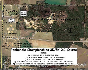 "PANHANDLE 3K/5K COURSE MAP Print it out, and follow along. North is to the RIGHT.  I know, an earlier map version I'd posted (and printed) read ""2500K"" instead of 2500m at the Halfway point. I made a muh . . . muh . . . I was wro . . . wro . . . so sue me."