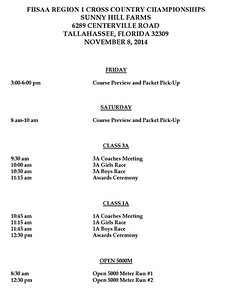REGION 1-1A & 3A CROSS COUNTRY CHAMPIONSHIPS     NOVEMBER 8, 2014