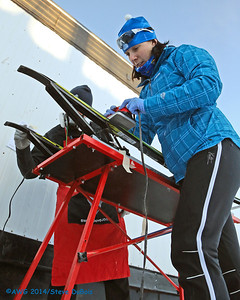 Team Alberta waxing skis before the freestyle xc races on 3/17.