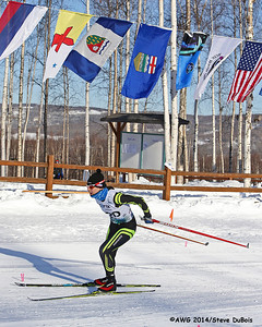 A female racer in the freestyle xc nears the finish line.