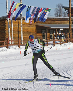 A xc ski racer nears the finish line in the freestyle race on 3/17.