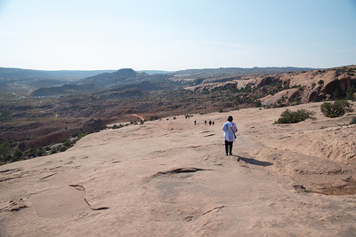 Looking down on hike up to Delicate Arch