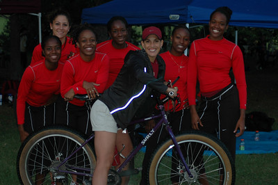Jackie's FSU Sprinter Chicks strike a pose with the Pugsley before their 5K.