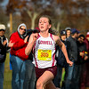 Lowell sophomore Kaley Richards runs to a 1st place in the Eastern Mass D1 XC Championships.