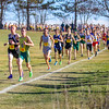 Gabe Montague and Owen Gonser lead the stream of runners in the early stages of the Massachusetts State Open D1 Cross Country Championship.