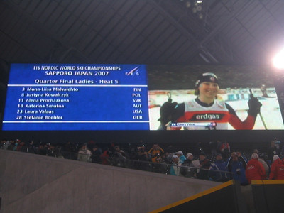 Laura Valaas, gets announced on the big screen in her first World Championships (credit: Doug Haney/U.S. Ski Team)
