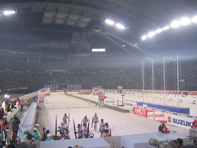 Crowds pack the Sapporo Dome just as the spint heats get underway (credit: Doug Haney/U.S. Ski Team)