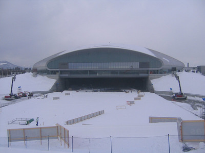 The open side of the Sapporo Dome, where skiers will exit to loop around the ajoining soccer fields (credit: Doug Haney/U.S. Ski Team)