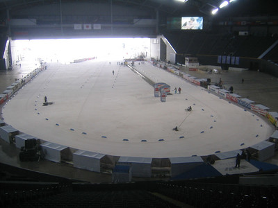 The inner loop of the Sapporo Dome as viewed from the stands (credit: Doug Haney/U.S. Ski Team)