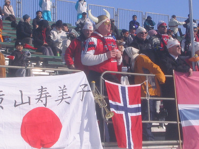 A Norwegian fan in the stands for the women's pursuit Sunday (credit: Doug Haney/U.S. Ski Team)