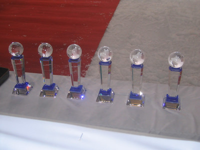 The World Championships trophies that go to the top six skiers in the sprint final (credit: Doug Haney/U.S. Ski Team)