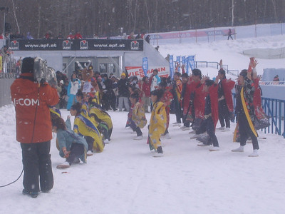 Traditional dancers perform prior to the start of the men's 30K pursuit (credit: Doug Haney/U.S. Ski Team)