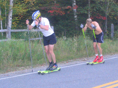 Lars Flora (left) and Andrew Johnson with a poling only workout (credit: USSA)