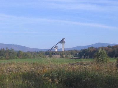 A view from Lake Placid's Bear Cub road of the 1980 Olympic Ski Jumps (credit: USSA)