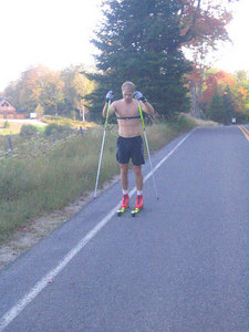 Andrew Johnson during interval training on Lake Placid's Bear Cub Road (credit: USSA)