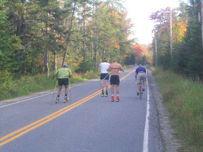 (l-r) Justin Wadsworth, Lars Flora, Andrew Johnson and Pete Vordenberg puting in the intervals in Lake Placid (credit: USSA)