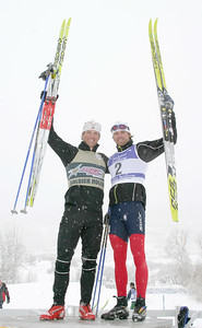 Winner Kris Freeman (left) and second place Andy Newell (right), USSA Cross Country SuperTour Sprint, Dec. 17, 2006, Soldier Hollow, UT