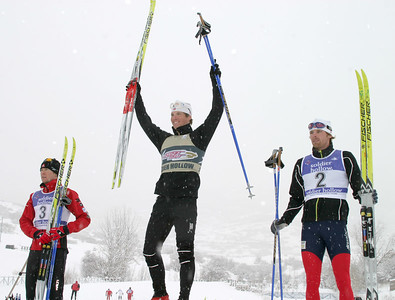 SuprTour Sprint Men's Podium, winner Kris Freeman (center), 2nd place Andy Newell (right), and third place Drew Goldsack, USSA Cross Country SuperTour, Dec. 16, 2006, Classic Sprint, Soldier Hollow, UT