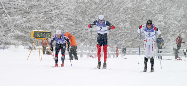 Kris Freeman (left) and Andy Newell (middle) start the USSA Cross Country SuperTour, Dec. 16, 2006 Classic Sprint Finals at Soldier Hollow, UT