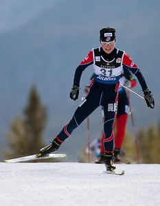 Taz Mannix races in the World Cup 15km pursuit in Canmore, Alberta. Photo © Phillip Bowen