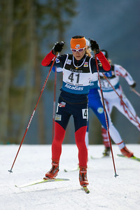 Morgan Arritola races in the World Cup 15km pursuit in Canmore, Alberta. Photo © Phillip Bowen